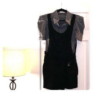 Checkered double layered shirt dress